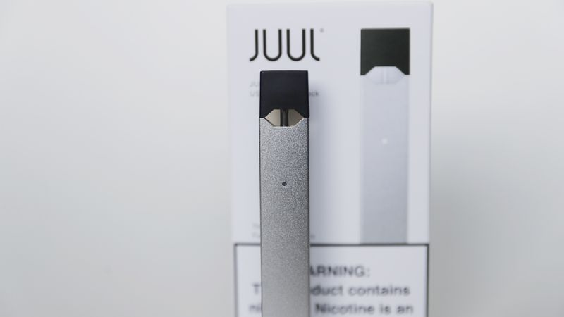 An electronic cigarette from Juul Labs is seen on Tuesday, Feb. 25, 2020, in Pembroke Pines,...