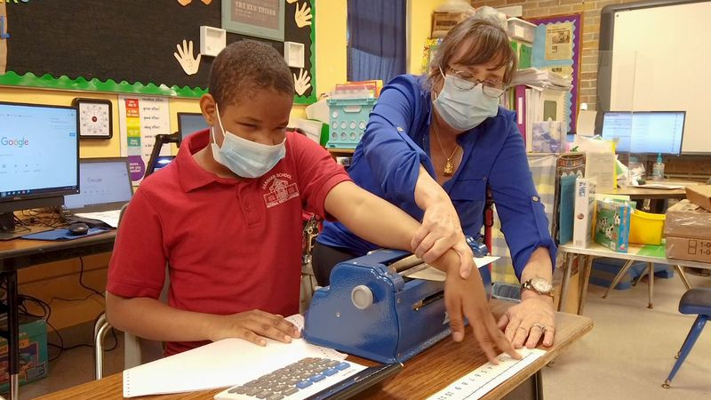 Mrs. Nan Ryan teaches visually impaired students at Harahan Elementary School and is not...