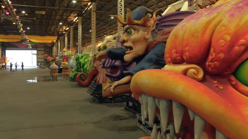 Preparing for Mardi Gras starts the second the season ends, so work on floats continues at Kern...