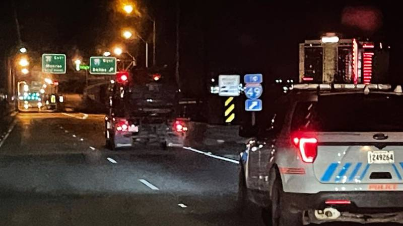 KSLA News 12's Doug Warner caught this image of a vehicle being hauled toward downtown...