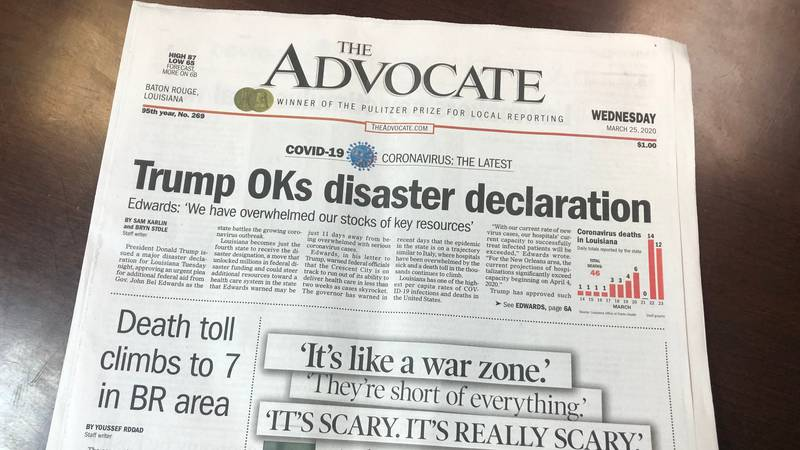 The Advocate newspaper is asking readers for donations to stay afloat.