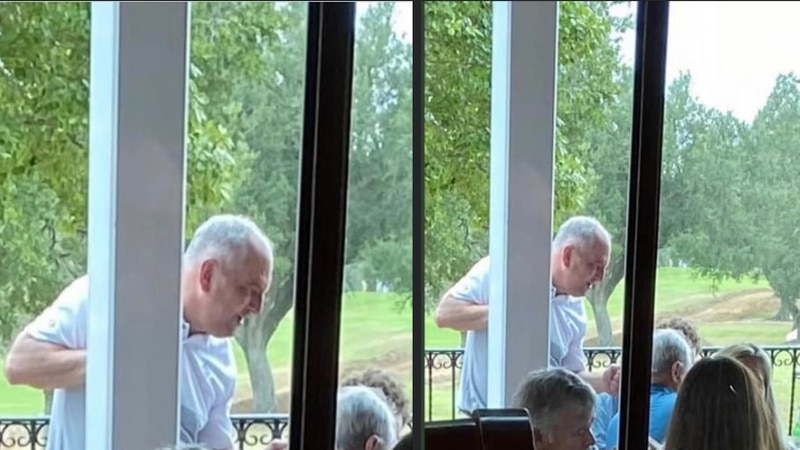 Two photos showing Governor John Bel Edwards at the Baton Rouge Country Club were taken on or...