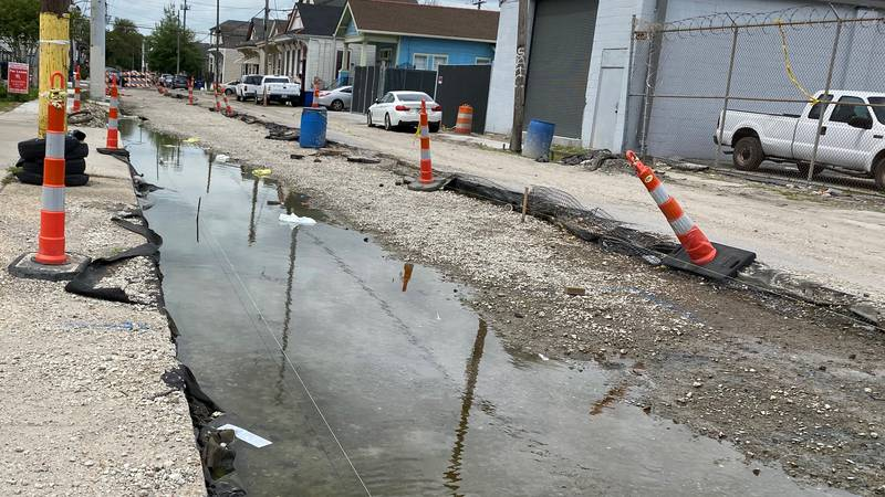 Work crews dug up this block of Conti St., but haven't returned, cutting off businesses from...