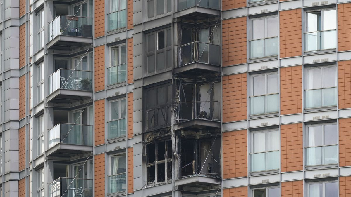Damage to a 19-story tower block in New Providence Wharf in London, Friday, May 7, 2021....