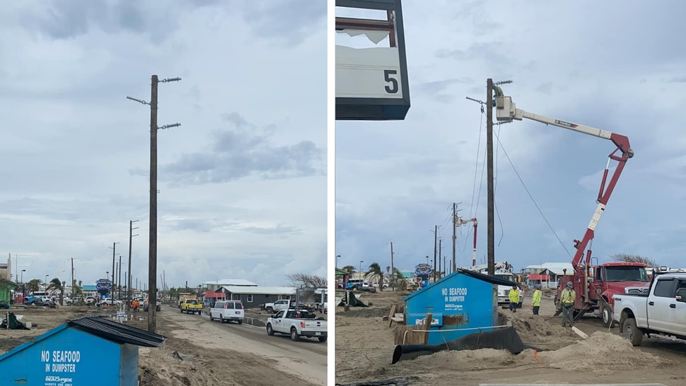 Power poles, lines go up in Grand Isle