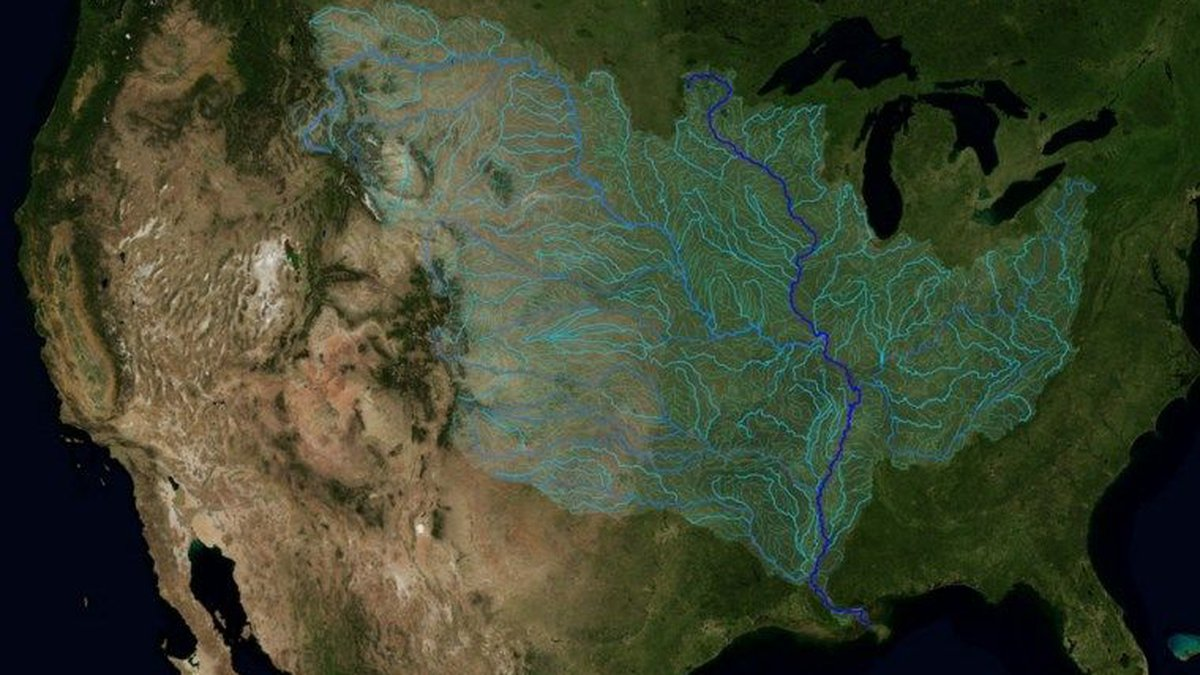 NASA image of the Mississippi River watershed