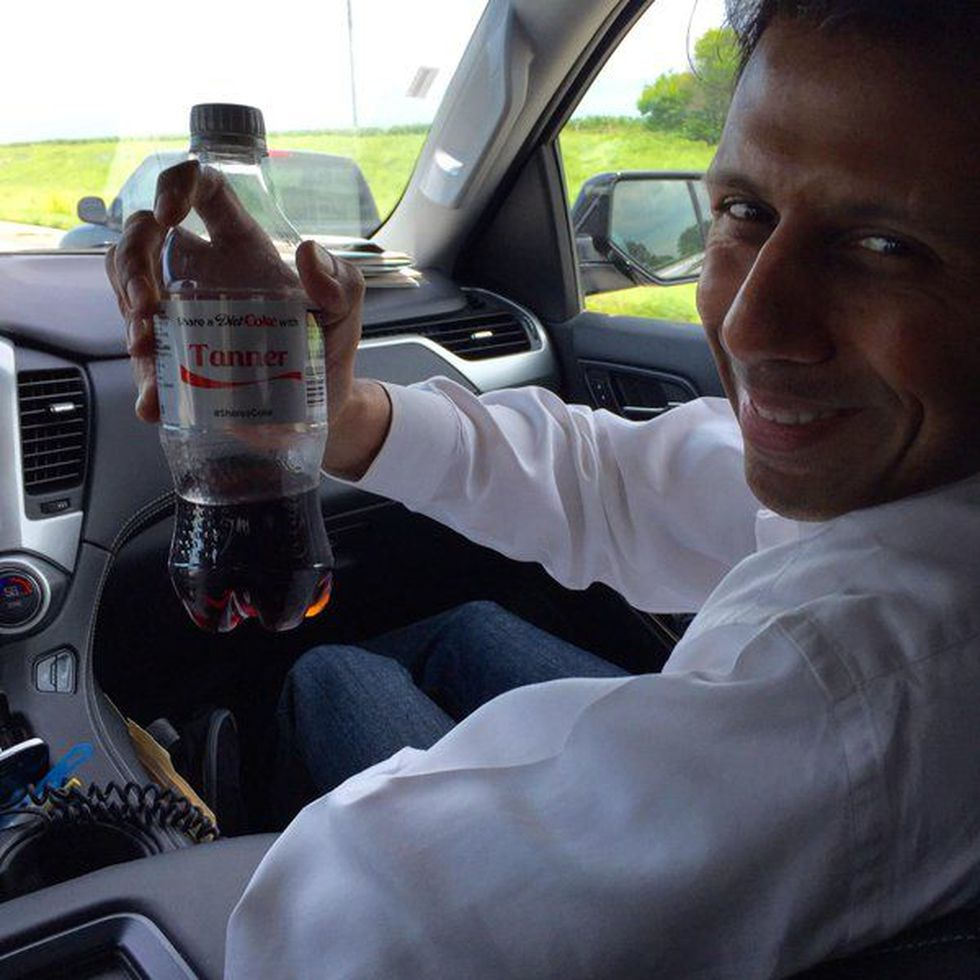 A photo sent from Gov. Jindal's Twitter account over the summer, showing the candidate on the...