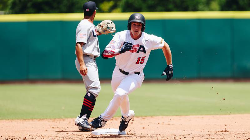 New LSU baseball signee Jacob Berry (15) playing for U.S. Collegiate National Team.