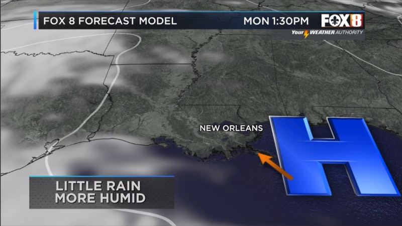 High pressure and sinking air remain in control most of Monday limiting rain, but winds become...