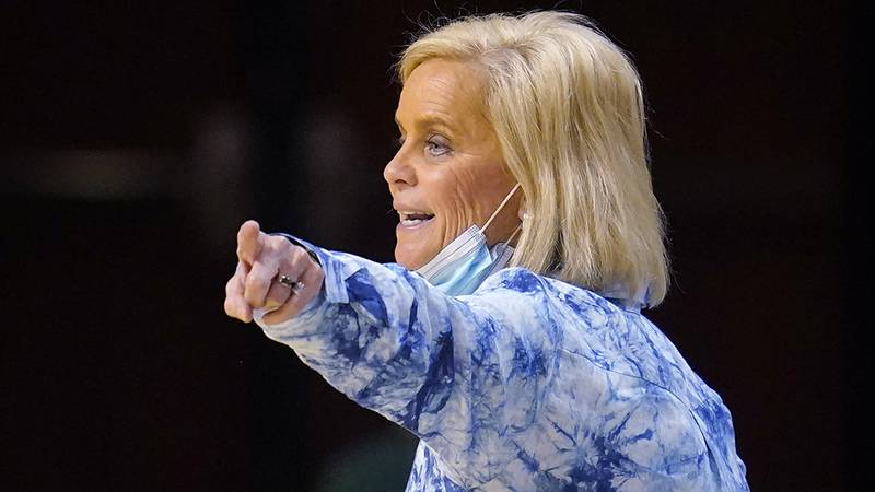 Baylor head coach Kim Mulkey gestures in the first half of an NCAA college basketball game...