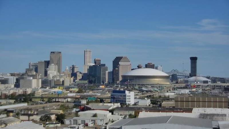 Just a few clouds around October 16th looking back towards downtown New Orleans. Dry conditions...