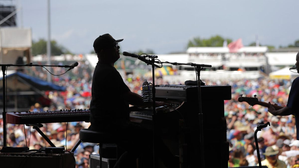 Ivan Neville performs with Dumpstaphunk at the New Orleans Jazz & Heritage Festival in New...