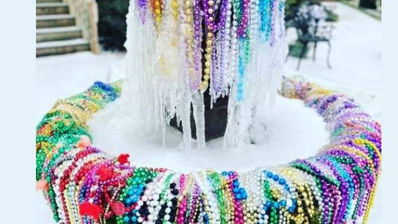 A water fountain Lafayette freezes over..while still celebrating Carnival