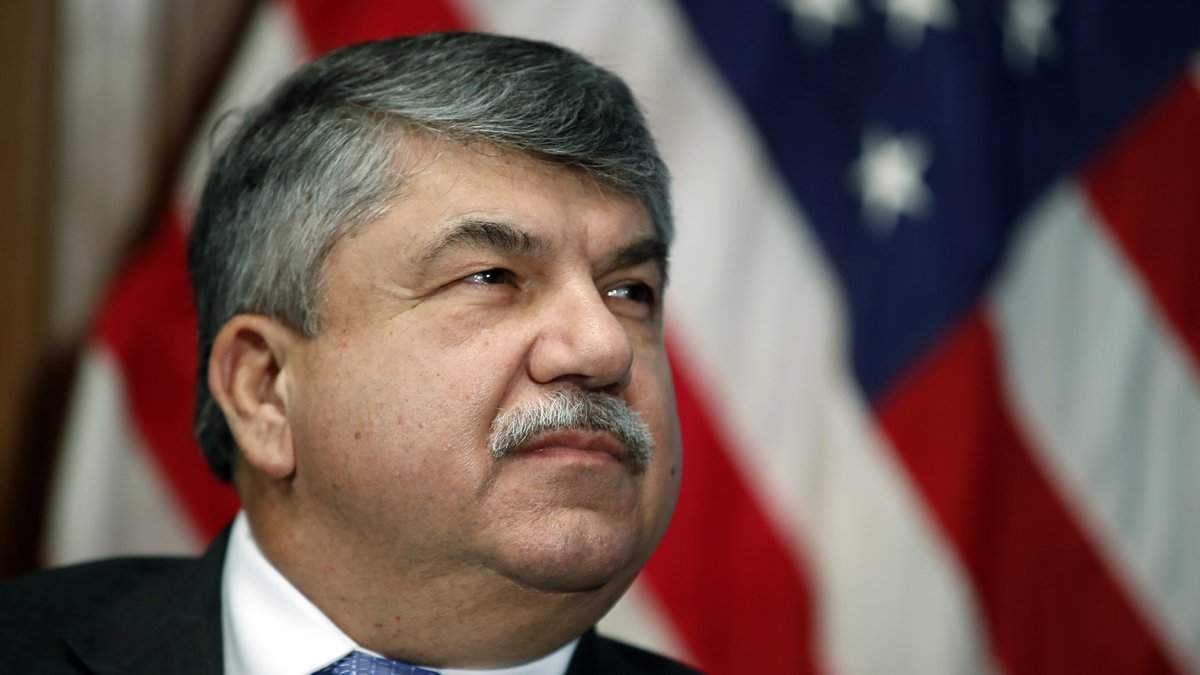 FILE - In this April 4, 2017 file photo, AFL-CIO president Richard Trumka listens at the...