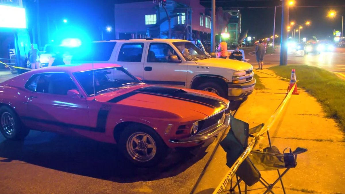 An innocent bystander in town for Cruisin' the Coast was shot in the chest after gunfire was...