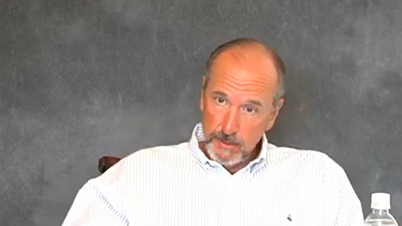 Former St. Bernard Parish Sheriff Jack Stephens seen in a deposition video.