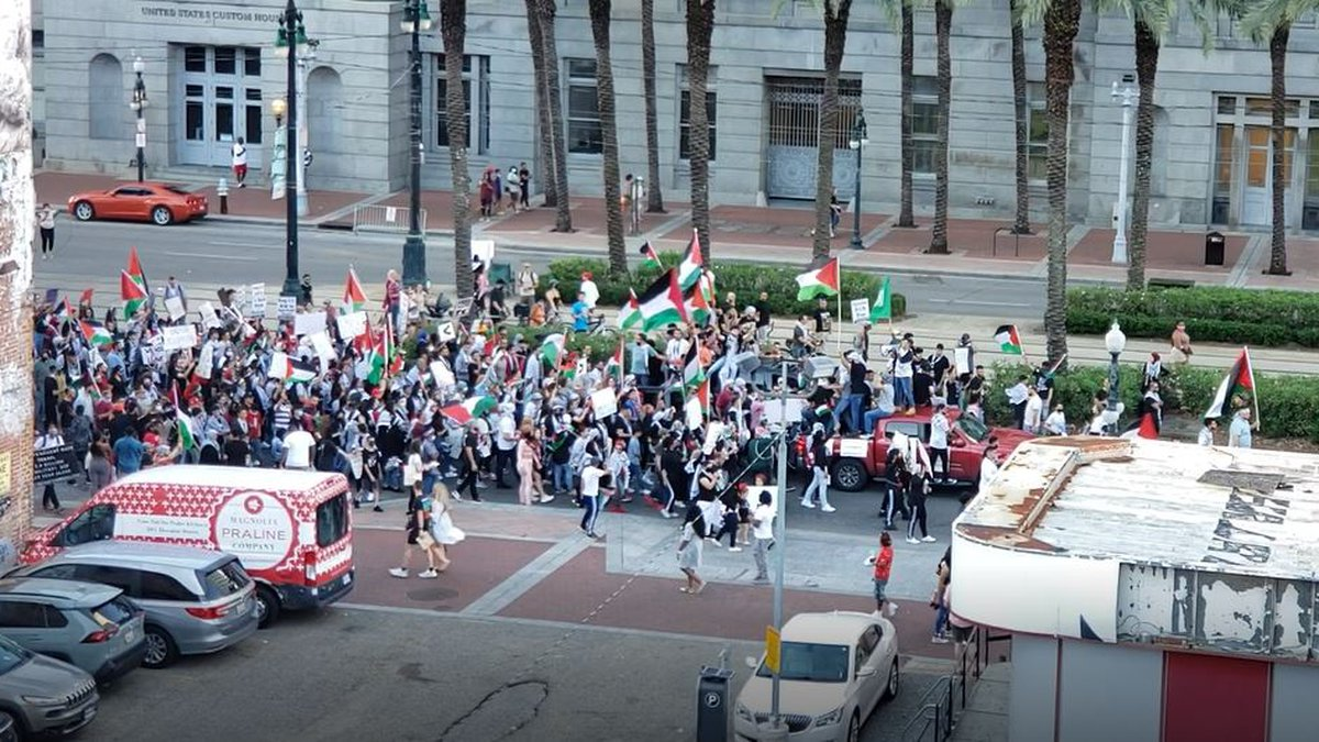 """Protestors march near Canal Street to support """"Free Palestine"""""""