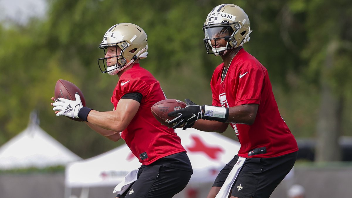 New Orleans Saints quarterback Jameis Winston (2) took the first team reps Saturday. (AP...