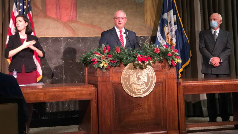 Gov. John Bel Edwards speaks at a news conference about the Pfizer- manufactured COVID-19...