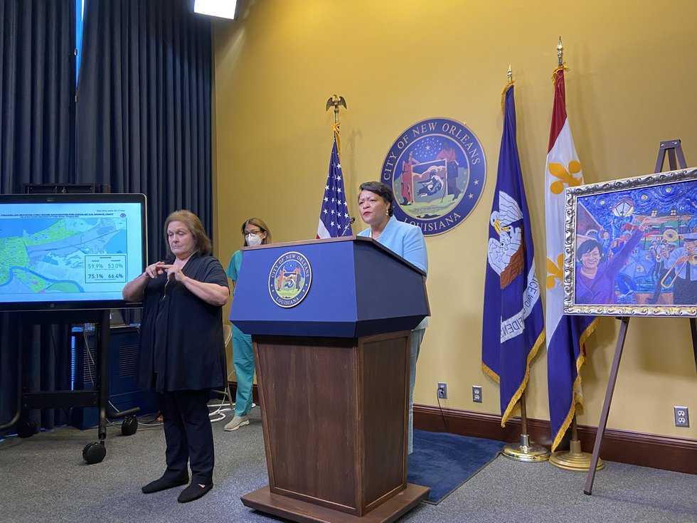 Mayor Latoya Cantrell announces proof of vaccination will be needed to enter some New Orleans...