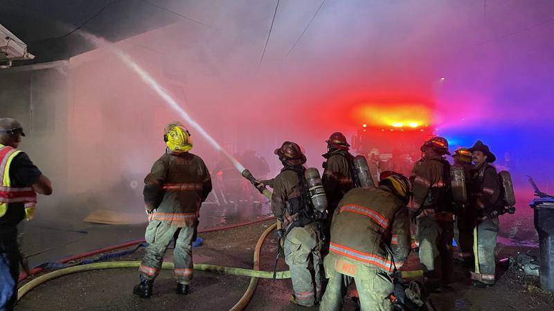 New Orleans firefighters battle the second of two fire Monday night (Sept. 6) in the 600 block...