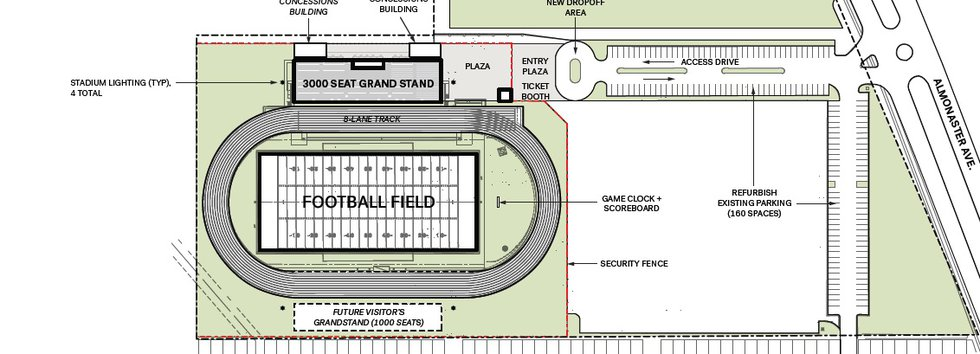 A sketch of the newly-planned 9th Ward Stadium located next to the Carver High School campus.