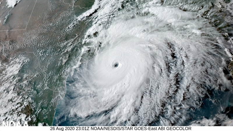 NOAA's GOES-East satellite captured this image of Hurricane Laura on August 26, 2020 as it...