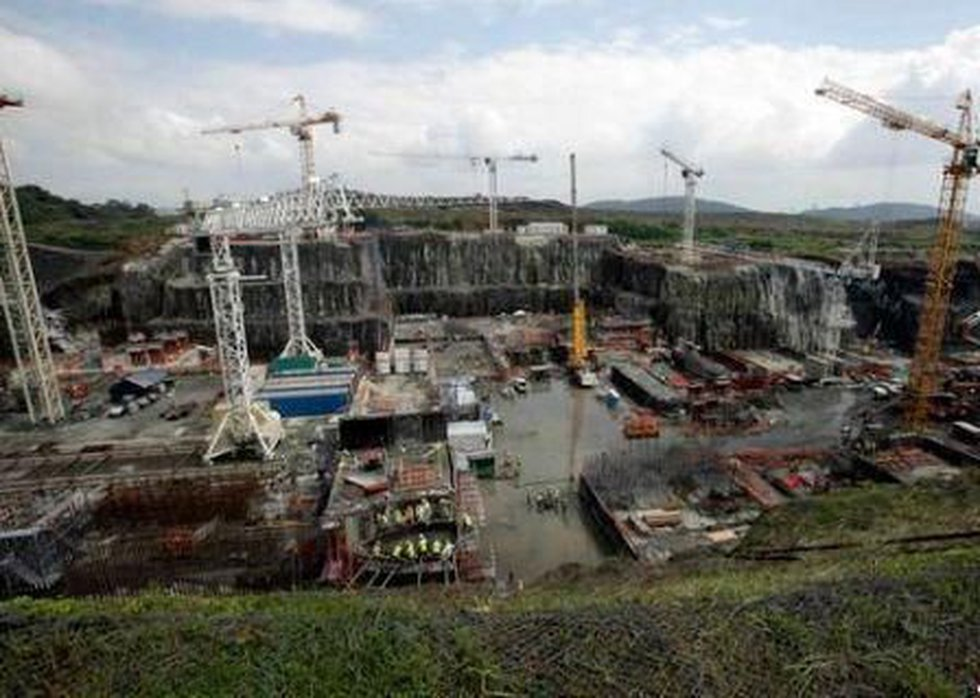 Cranes works in part of the new set of locks of the Panama Canal as a part of their expansion...