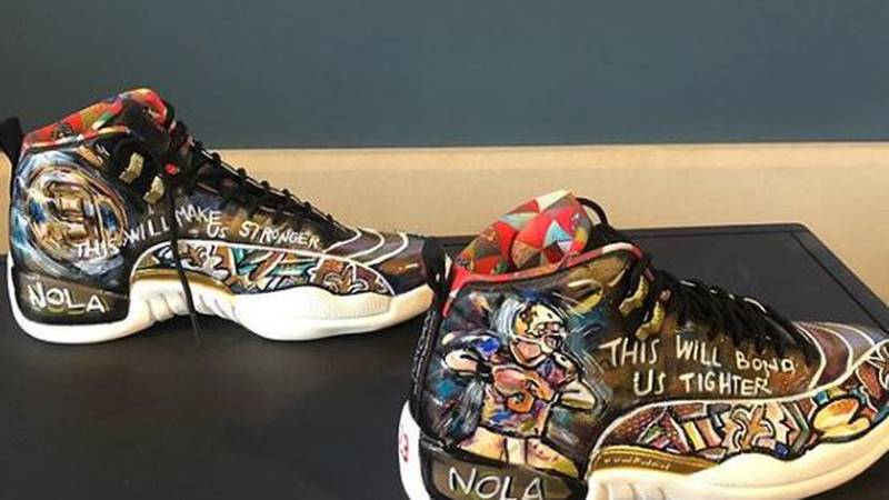 Terrence Blanchard had custom shoes made for The Oscars that showed his support for The Saints.