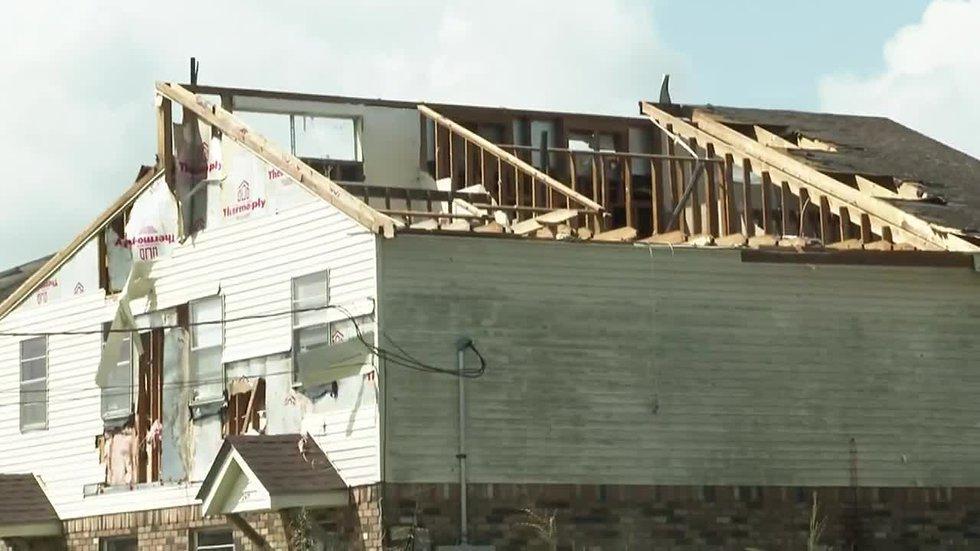 Homes damaged by Hurricane Ida.