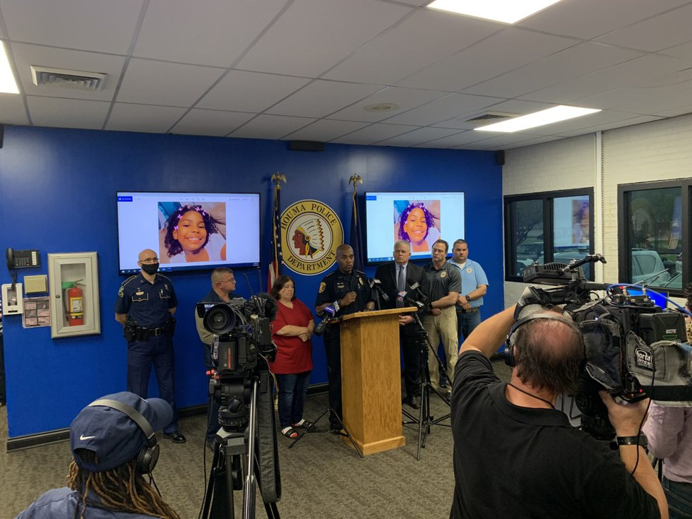 Press conference regarding an 8-year-old's murder in Houma.