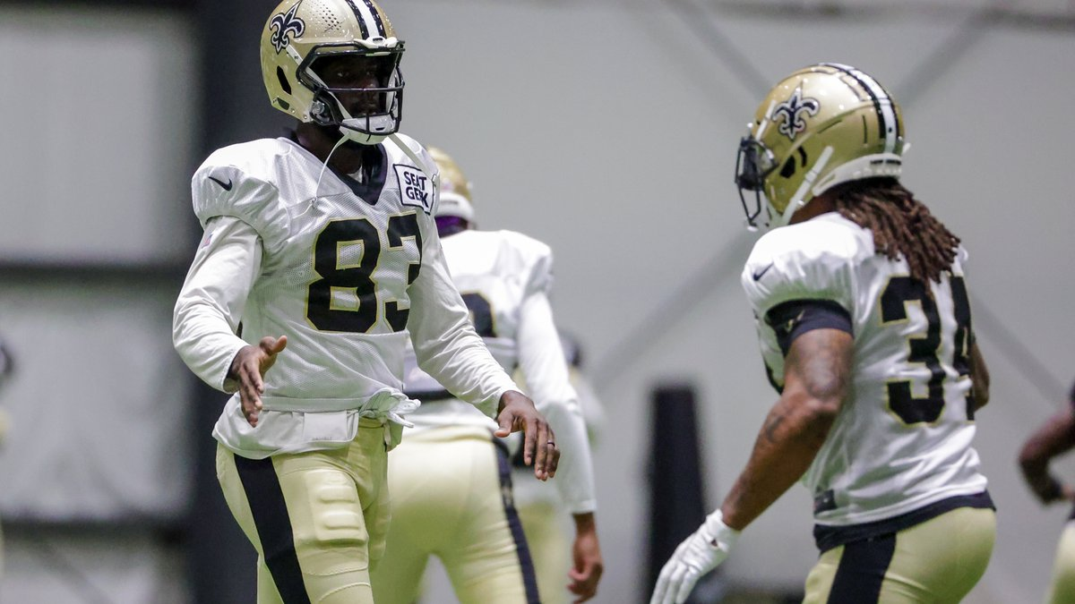 New Orleans Saints wide receiver Juwan Johnson (83) stretches before practice during NFL...