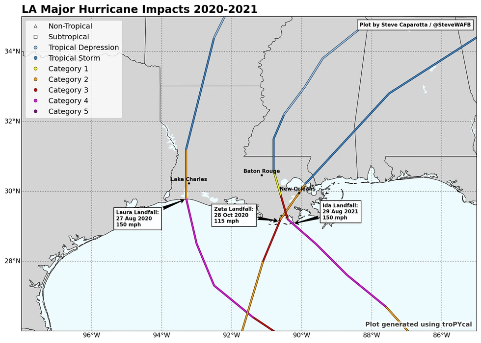 Tracks of the 3 major (Cat. 3-5) hurricanes that have made landfall in Louisiana over the last...