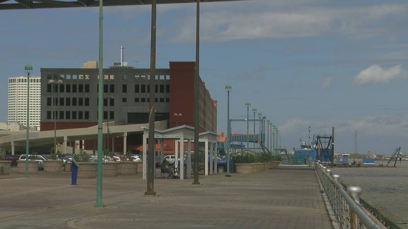 Empty cruising line docks at Port of New Orleans
