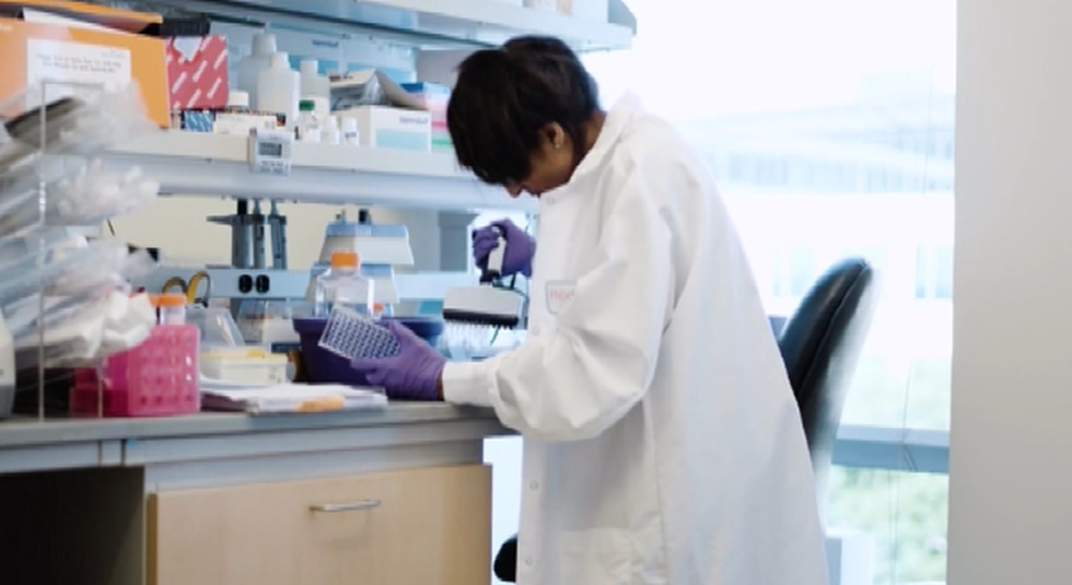 Scientist works on COVID-19 vaccine in the U.S.