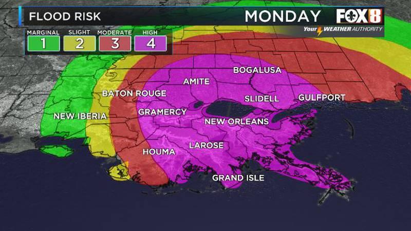 Heavy rain will continue across the region through Monday.