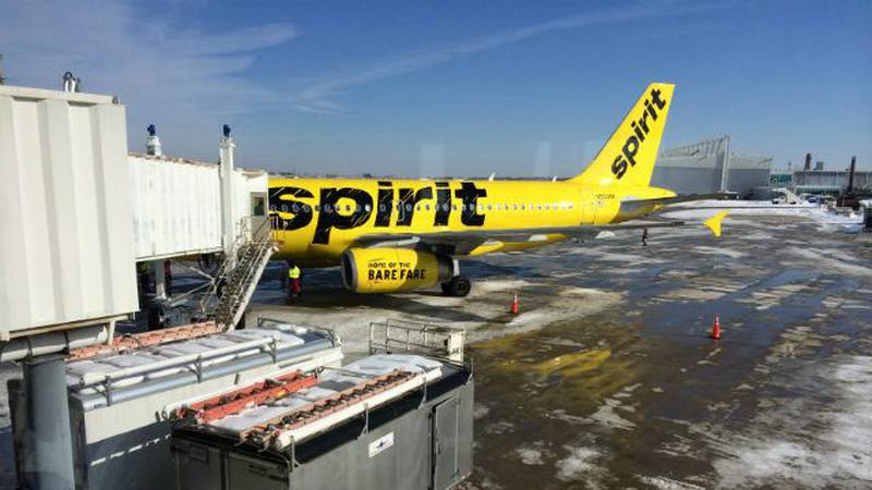A Spirit Airlines jet is shown at the Cleveland airport in this file photo. (Source: WOIO)
