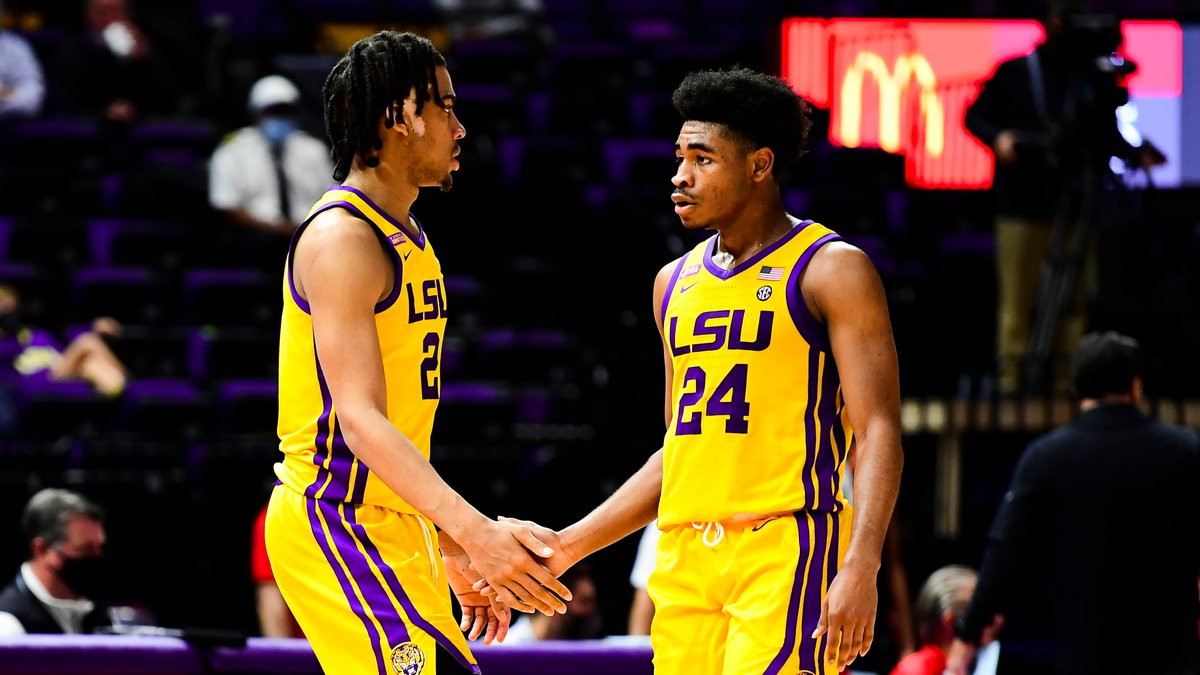 Trendon Watford and Cameron Thomas during a game against Georgia at PMAC on Jan. 6, 2021 in...