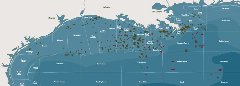 Fieldwood Energy operates hundreds of platforms in the Gulf of Mexico.