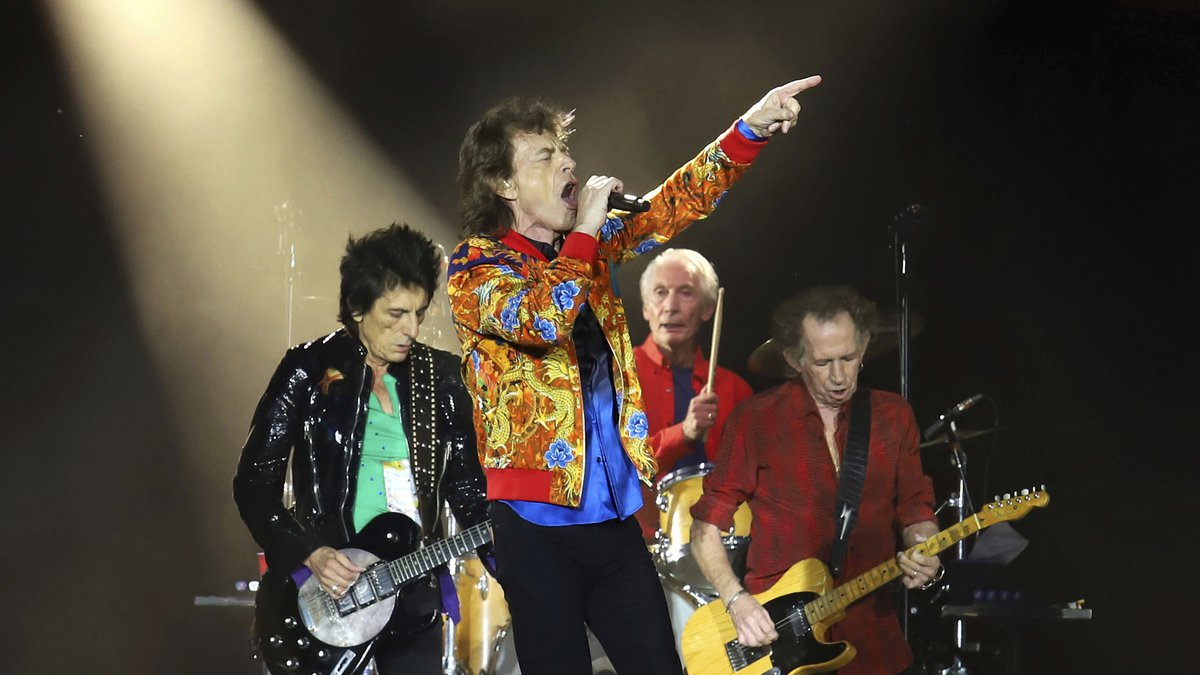 FILE - In this Aug. 5, 2019 file photo, Ronnie Wood, from left, Mick Jagger, Charlie Watts and...