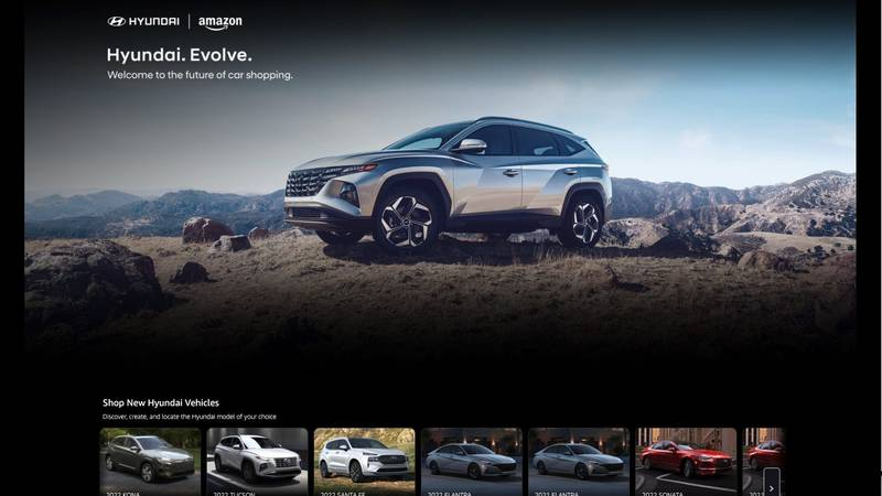 A screen capture of Hyundai's Amazon Evolve digital showroom, Thursday, Oct. 7, 2021