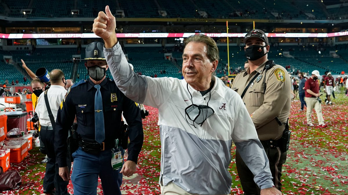 FILE - Alabama head coach Nick Saban leaves the field after their win against Ohio State in an...