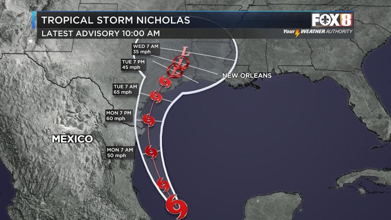 Tropical Storm Nicholas track