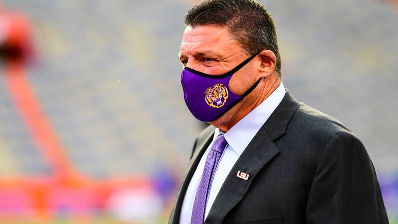 Ed Orgeron of the LSU Tigers during a game against the Florida Gators at Ben Hill Griffin...
