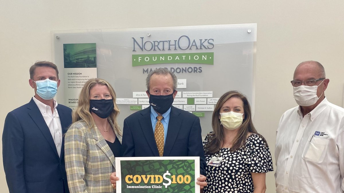 """Announcing the North Oaks Foundation """"COVID 100 Immunization Clinic"""" initiative, from left,..."""