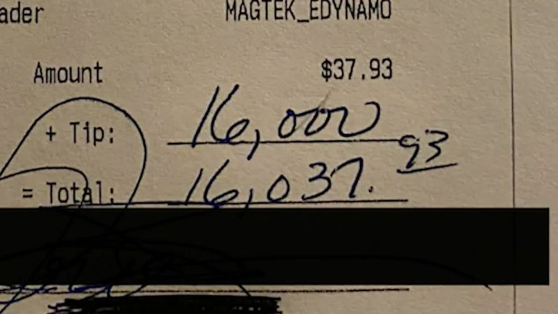 A customer's very generous tip dazzled the restaurant staff at a New Hampshire bar and grill.
