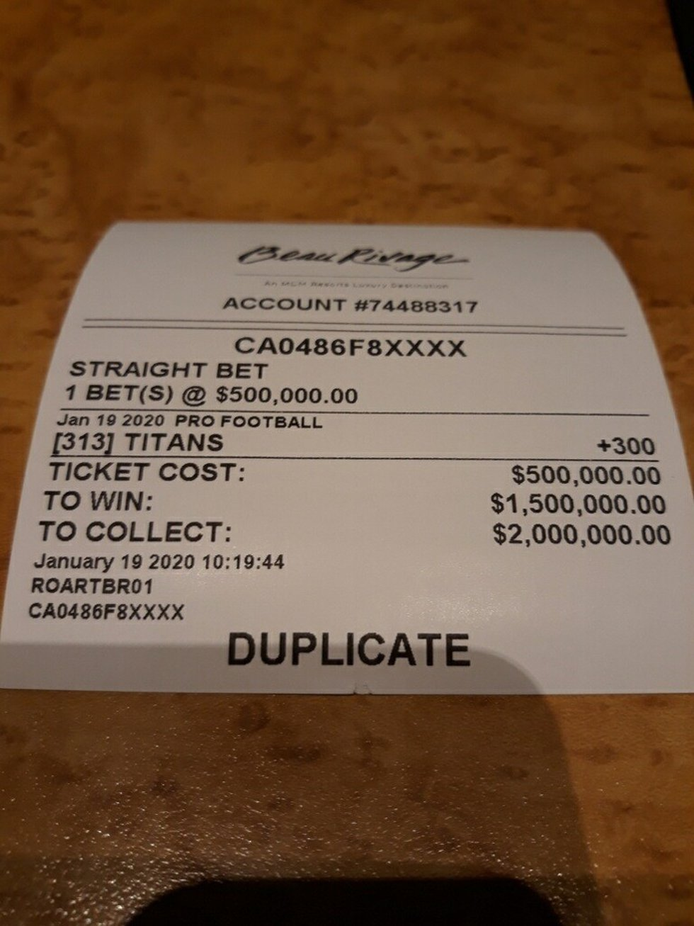 Mack laid down two 500,000 dollar bets in south Mississippi on the Titans beating the Chiefs.