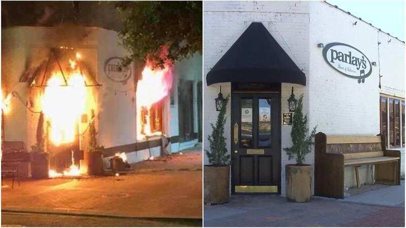 (Right) Parlay's Bar the morning of June 17, 2020 when the pub was up in flames. (Left) Eight...