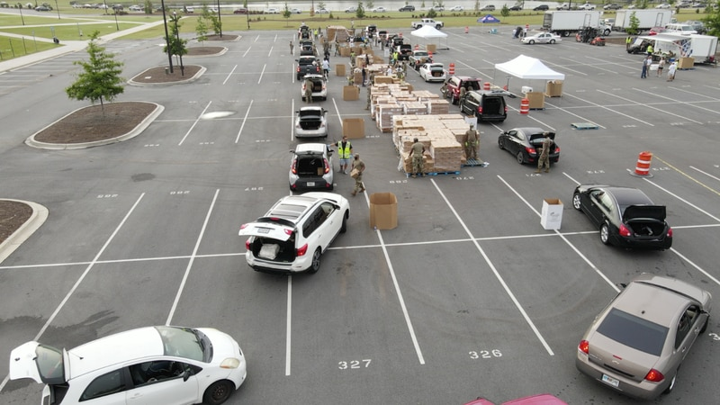 Second Harvest food distribution from previous event.