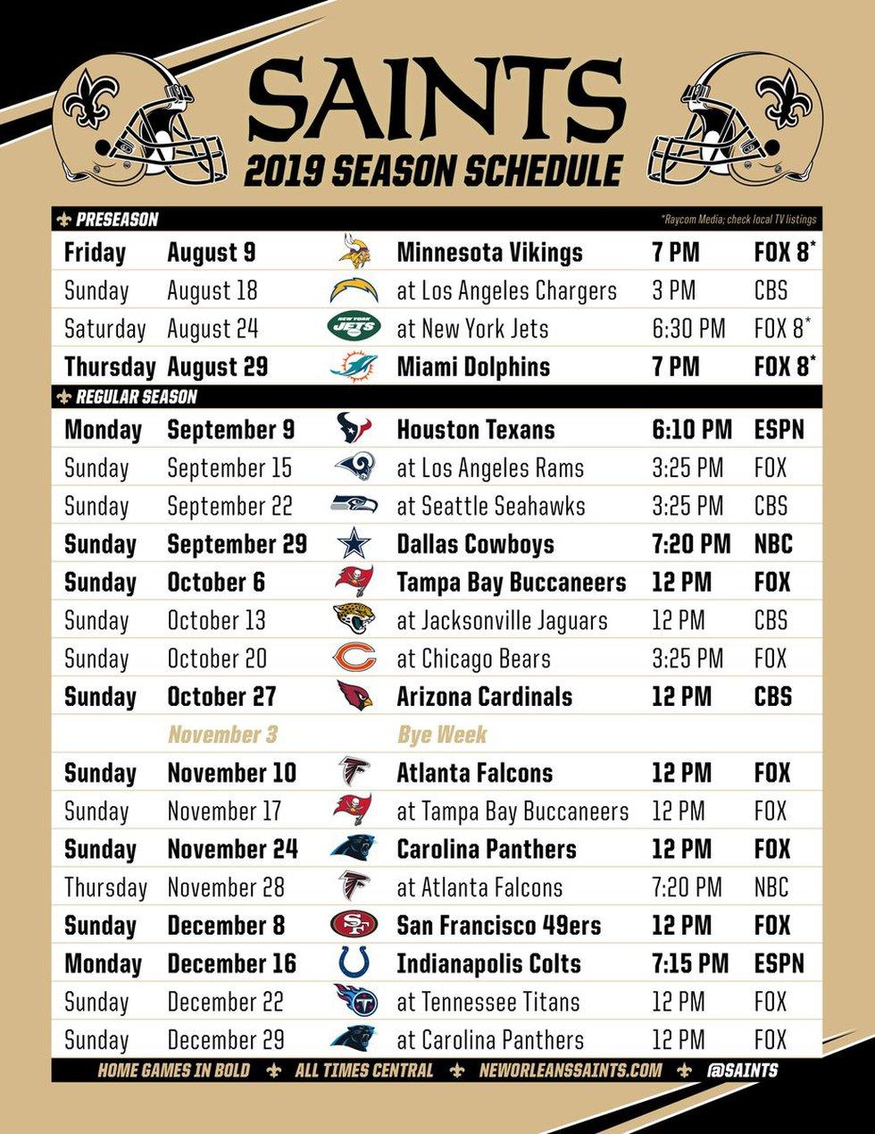 Saints' 2019 Schedule (Courtesy: New Orleans Saints)